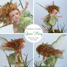:: Crafty :: Clay :: Art Doll :: Green Fairy - OOAK Modellata in Pasta Sintetica by Celidonia - Daniela Messina