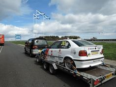 Towing the GTA race car back to Scotland