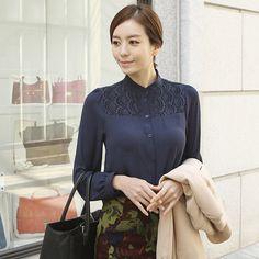 Scalloped Shoulder Lace Blouse by Secret2Girls