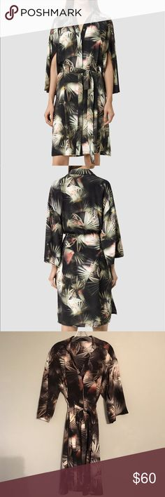 Allsaints kimono-style dress Beautiful Allsaints shirt dress (style name Mono Colada). A modern homage to the Japanese kimono. Very comfortable, and because it looks a bit like a robe, it's surprisingly sexy.  100% silk, tropical print. US size 2. Like new condition, only worn once! All Saints Dresses Midi