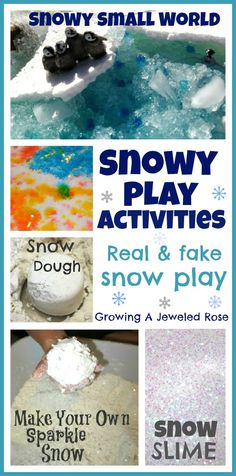 Snowy Play Activities for kids~ Real and fake snow activities. We use this in Early Years, fab stuff and the kids love it :) Snow Activities, Sensory Activities, Christmas Activities, Sensory Play, Sensory Bins, Creative Activities, Christmas Ideas, Winter Fun, Winter Theme