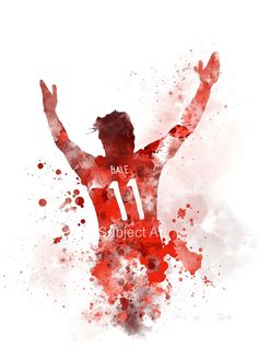 Gareth Bale ART PRINT illustration, Wales, Football, Wall Art, Home Decor, Sport