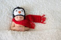 Crochet Penguin and Scarf newborn baby photography by jackiedye