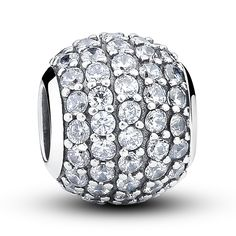 Bamoer 925 Sterling Silver Pave Czech Bead Ball Charm Fit Pandora Bracelet with Cubic Zirconia DIY Accessories