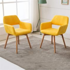 Yellow Furniture Living Room Lansen Furniture Set Of 2 Modern Living Dining Room Accent Arm Chairs Club Guest with solid Wood Legs Yellow