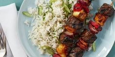 hawaiian steak kebabs with scallion rice
