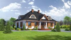 Zdjęcie projektu Chmielowice m KRP1879 Modern Bungalow House, Home Fashion, Mansions, Villa, Architecture, House Styles, Home Decor, Drawing Rooms, Projects