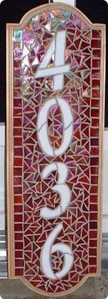 4036 Mosaic Diy, Mosaic Crafts, Mosaic Glass, Mosaic Tiles, Glass Art, Mosaic Projects, Stained Glass Projects, Stained Glass Patterns, Address Signs