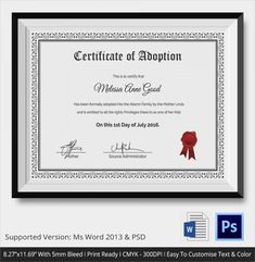 Free 23+ Sample Adoption Certificates In Ai | Indesign | Ms in Child Adoption Certificate Template – Amazing Certificate Template Ideas Blank Certificate, Birth Certificate Template, Adoption Certificate, Printable Certificates, Plastic Playing Cards, Student Leadership, Word Free, Make Ready, New Students