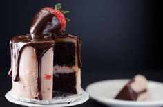 Mini Chocolate Strawberry Cakes... baked in tin cans?? Hahah, that's great. Adorable tiny things rule.