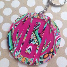 Lilly Pulitzer Monogrammed Keychain  | Acrylic Keychain Monogram | Personalized Keychain | 2.5 Inch Monogrammed Keychain | Lilly Monogrammed