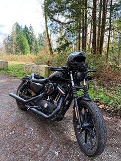 Harley Davidson Iron 883. Kuryakyn kellerman atto lights, lepera villain solo seat, drag bars. Harley Davidson Sportster 1200, Harley Davidson Iron 883, Harley Davidson Bikes, 1200 Custom, Royal Enfield, Motorcycle, Photo And Video, Vehicles