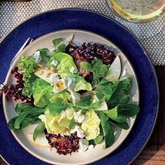Mixed Lettuce, Pear, and Goat Cheese Salad with Citrus Dressing | MyRecipes.com #myplate #vegetable #fruit