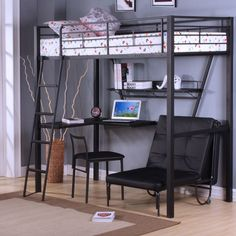 ACME Furniture Senon Loft Bed with Desk in Silver and Black Futon Bunk Bed, Loft Bunk Beds, Bunk Bed With Desk, Bunk Beds With Stairs, Kids Bunk Beds, Desk Bed, Loft Spaces, Modern Spaces, Modern Beds