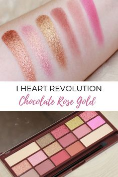 I Heart Makeup Chocolate Rose Gold palette The I Heart Revolution Chocolate Rose Gold eyeshadow palette is a dupe for the Huda Beauty Rose Gold palette Huda Beauty Eyeshadow Palette, Huda Beauty Rose Gold Palette, Rose Gold Eyeshadow, Makeup Dupes, Mineral Eyeshadow, Makeup Palette, Makeup Jobs, Makeup Blog, Makeup Products