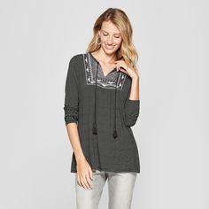863849bb6cb Women's Striped Long Sleeve Embroidered Yoke Detail Top - Knox Rose Black  XL Knox Rose,
