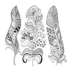 Feather Coloring Pages for Adults Elegant Zentangle Stylized Elegant Feathers Set Hand Drawn Turkey Coloring Pages, Free Coloring Pages, Coloring For Kids, Coloring Books, Feather Drawing, Feather Painting, Art Quilling, Quilling Patterns, Eagle Feathers