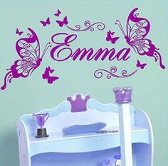 Butterfly Custom Name Vinyl Butterflies on the Wall Sticker For Children Girls Room Decoration Art Wall Decals For Kids Room