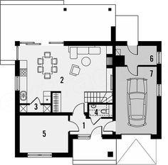 Projekt domu Guarana 2 122,9 m2 - koszt budowy 174 tys. zł - EXTRADOM Floor Plans, Home Layouts, Floor Plan Drawing, House Floor Plans