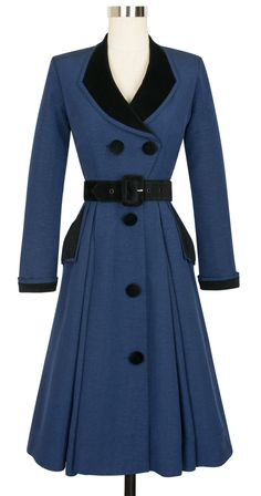 Make a glamorous entrance with our vintage-inspired Ribbed Rayon Collection by Candice Gwinn in new stunning hues and flattering silhouettes for any special occasion. The classic coat you'll wear year after year, the Fontaine Coat Dress, is making its debut in our elegant dark blue ribbed rayon with beautiful black velvet detail. This 1950's inspired design details a tailored fit, knee-length skirt, and pockets with a black velvet overlay for storing your essentials. The A-line skirt…