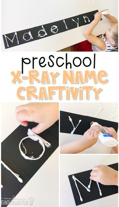This x-ray name craftivity is fun for name and fine motor practice with a human body theme. Great for tot school, preschool, or even kindergarten! Preschool Reading Activities, Preschool Names, Body Preschool, Preschool Letters, Preschool Curriculum, Preschool Lessons, Preschool Classroom, Literacy Activities, Homeschooling