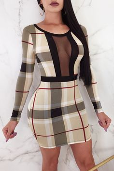 check out 4176c 21842 LoverMalls Beige Plaid Grenadine Cut Out Round Neck Mini Dress
