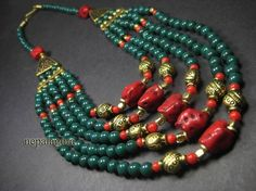 N4225 Tribal multi strand resin glass beads gypsy NAGA handmade NECKLACE Tibetannepalagora  #Handmade