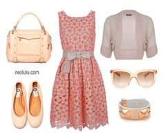 Cute dress and ballerina flats, warm peach and coral colors. A sweet and girly summer look. Enhances green and hazel eyes. Great for women with warm yellow skin undertone and medium- to light-brown hair.