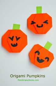 Fold an origami Jack-O-Lantern Pumpkin for Halloween! Great for fie motor practice, math learning, and art too! Theme Halloween, Halloween Crafts For Kids, Halloween Activities, Craft Activities, Crafts To Do, Halloween Pumpkins, Fall Crafts, Halloween Diy, Holiday Crafts