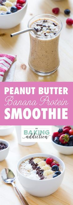 This Peanut Butter Banana Protein Smoothie is loaded with good for you ingredients! Perfect for busy mornings! Sponsored by thinkThin.