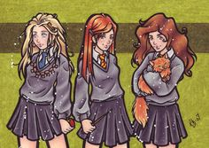Harry Potter girls from left to right: Luna Lovegood, Ginny Weasley and Hermione Granger with Crookshanks by BlueUndine