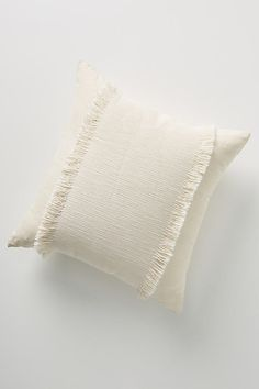 "Fringed Emmaline Pillow By Anthropologie in White Size 18"" SQ"