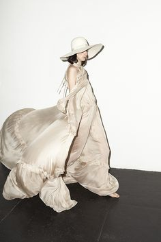 Beautiful silk maxi dress worn with a big floppy hat - modern elegance; chic style // Houghton