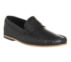 Ask the Missus America Penny Loafer Black Leather - Smart