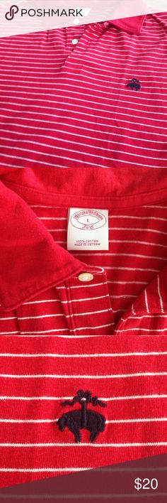 Red & White Striped Brooks Brothers Polo Shirt Brooks Brothers size large red with white pinstripe polo shirt in great condition! Brooks Brothers Shirts Polos