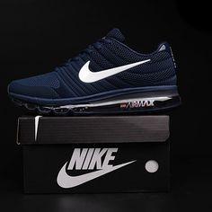sale retailer da63d d266e Nike Air Max 2017 Dark Blue White Logo Men Shoes Chaussures De Ville,  Placard À