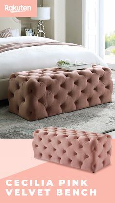 Cecilia Pink Velvet Bench is the perfect decor addition to any bedroom - tap the Pin to find it at Rakuten today. Dream Rooms, Dream Bedroom, Girls Bedroom, Bedroom Furniture, Bedroom Decor, Bench For Bedroom, Bedroom Inspo, Bedroom Ideas, Awesome Bedrooms