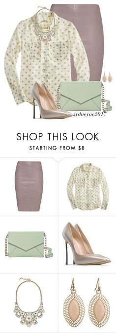 """""""Leather Skirt"""" by sydneyac2017 ❤ liked on Polyvore featuring Jitrois, J.Crew, Kate Spade, Casadei and Chloe + Isabel"""