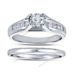 Round Cut White Diamond 1.00 Carat Solitaire With Accents Bridal Ring Set 5 6 7  #aonedesigns