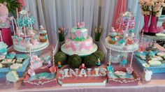 Pretty dessert table at a Peppa Pig birthday party! See more party ideas at CatchMyParty.com!