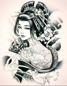 Geisha Tattoos, Tatoo Geisha, Geisha Drawing, Geisha Tattoo Design, Geisha Art, Sketch Tattoo Design, Japan Tattoo Design, Japanese Tattoo Designs, Japanese Tattoo Art