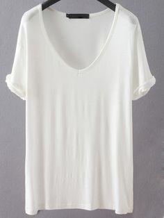 V Neckline Loose T-shirt -SheIn(Sheinside)