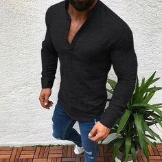 065432560f12 Men s Fashion Lapel Long Sleeve Solid Color Casual T-shirts Mens Onesie