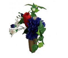 Silk or fresh flower arrangement for niche or columbarium. Rose, carnation, bell flowers, and ivy.  Suitable for site presentation.  Wrapped stems.  Vase not included.  Concierge services for verified direct grave-site placement.  Visit www.grave-flowers.com