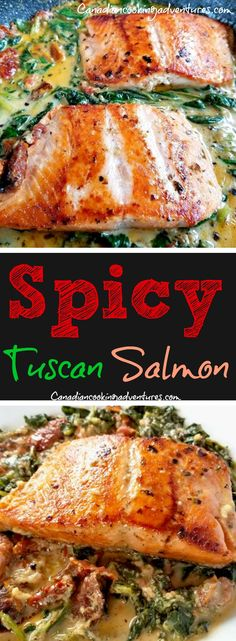 Spicy Tuscan Salmon this creamy recipe can be on the table in less than 20 minutes! #Spicy #salmon #tuscan #creamy #tomatoes #sundried #tomato #spinach #seafood #fglutenfree #recipe #canadiancooking #foodie #onepot