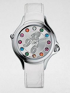 Fendi - Semi-Precious Multi-Stone, Diamond & Stainless Steel Watch/Crocodile Strap