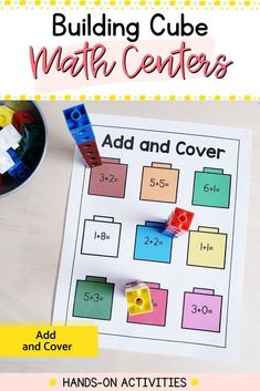 Need fun and engaging math centers for your kindergarten classroom? These 18 hands-on activities will reinforce fine motor and math skills all year. Easy to use and prep: just add snap cubes. Kindergarten Math Activities, Literacy Skills, Motor Activities, Hands On Activities, Kindergarten Classroom, Cubes Math, Build Math, 1st Year, Math Concepts