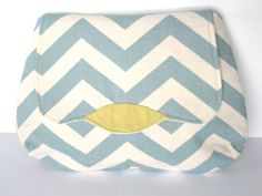 luna clutch with blue chevron.