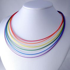 Computer Cable Necklace -- Rainbow Layered Wires; on etsy
