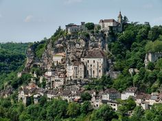 Rocamadour, was built on a rock wall at a point were the mummified body of an old hermit was discovered. Registered on UNESCO's world heritage list.